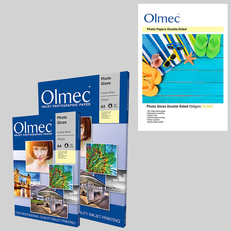 "Olmec Photo Gloss Double Sided 250gsm is ideal for high quality albums as this paper is resin coated on both sided, hence ""double sided"".  This paper has a subtle gloss finish which means less risk of distractions from your images. The resin coating also gives additional protection to your prints against water damage."