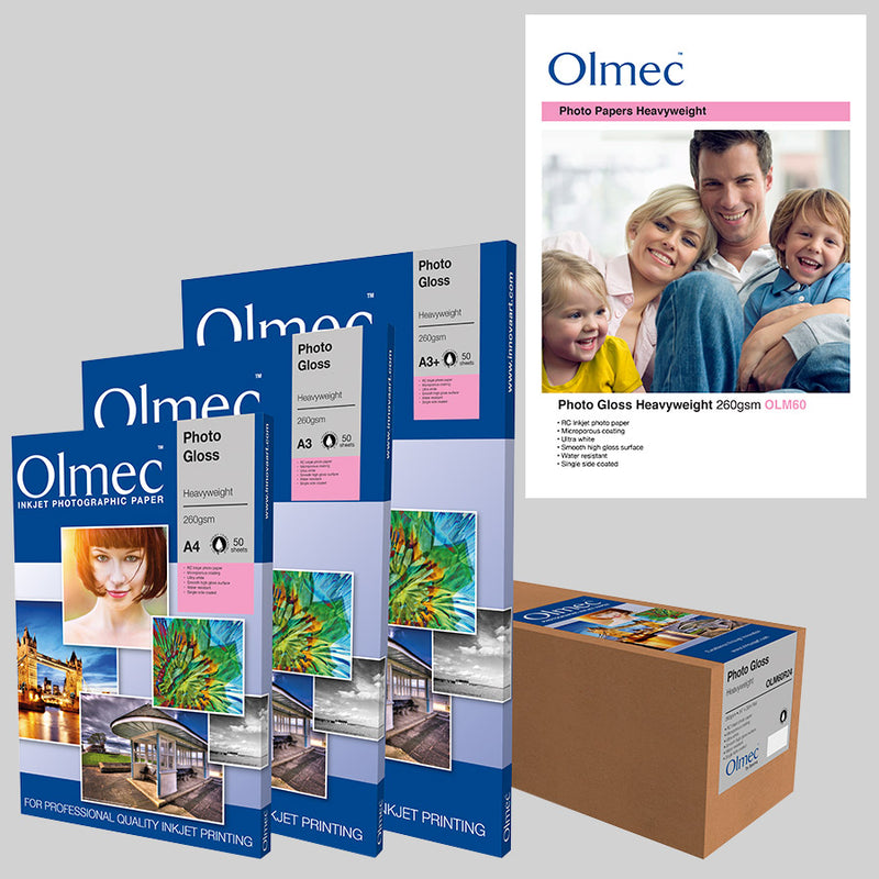Olmec Photo Gloss Heavyweight 260gsm is an ultra-white, resin coated inkjet paper with a smooth high gloss surface which will provide an excellent quality image.  The microporous coating is dry to the touch when printed. This is a staple of many photographer's printing kit due to its exceptional versatility. There isn't much this paper cannot do for you.