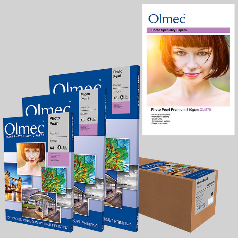 Olmec Photo Pearl Premium 310gsm will do any image justice with its luxurious, ultra-white, resin coated surface.  The pearlescent surface will give your finished image a subtle silky sheen. The coating is microporous and is touch dry when printed. Water resistance is another selling point of this premium paper.