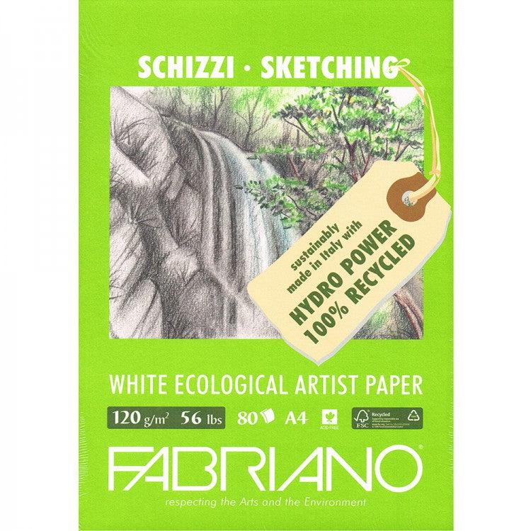 Ideal for drawing and sketching, the Fabriano Eco Sketch Pads are made from 100% recycled pulp and come in both A4 and A3 sizes. Made using hydro electric power.