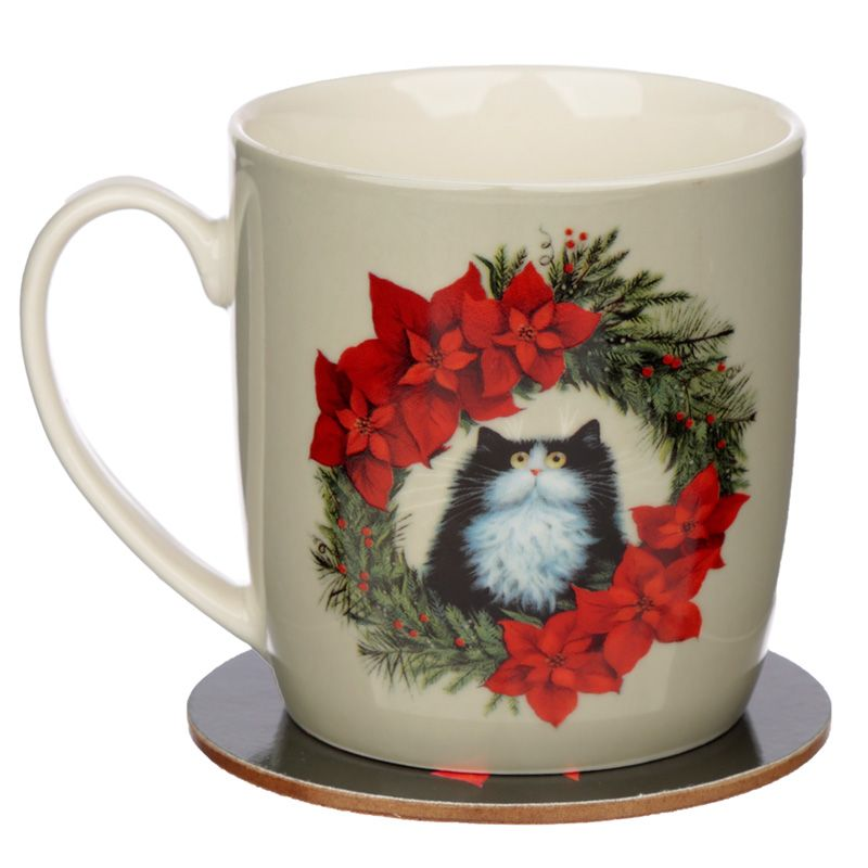 Kim Haskins Christmas Wreath Cat Porcelain Mug & Coaster Set