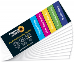 This ingenious swatch sampler of the whole PermaJet paper and canvas range enables you to view the whole spectrum of our impressive inkjet media portfolio. With each media having its name printed on its surface, you can quickly compare, feel and touch the texture and judge the base tone of each option to make your decision easier.
