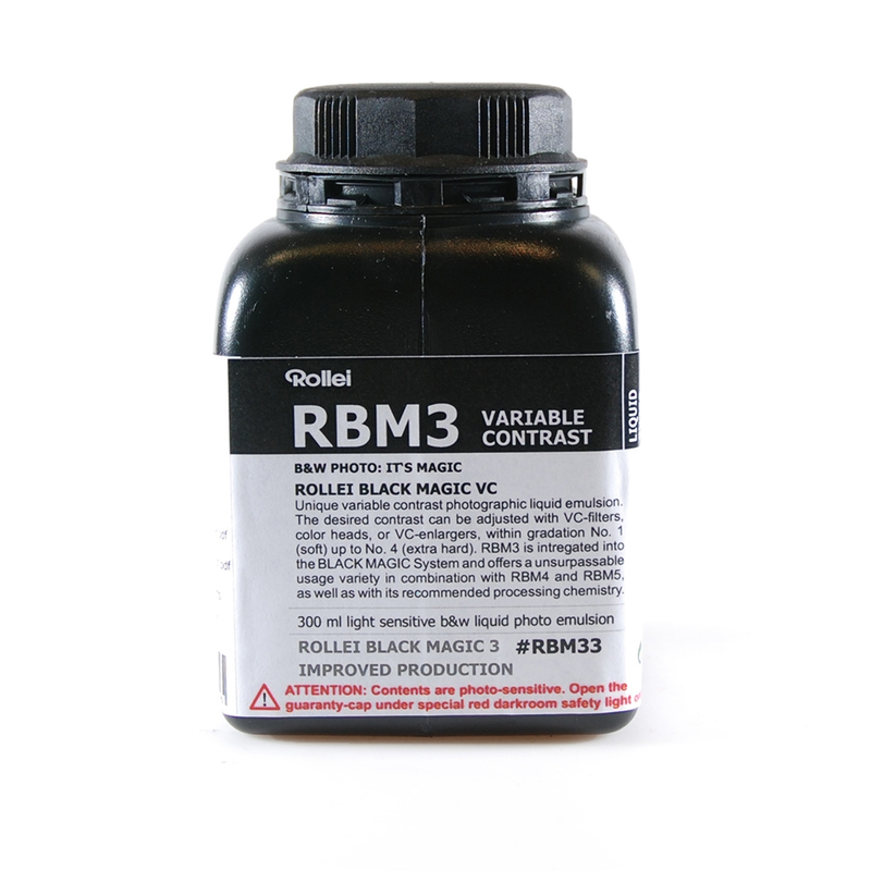 Rollei Black Magic VC Emulsion is alternative liquid emulsion tuned up to respond to variable contrast control, using yellow (soft) & magenta (hard) Multigrade filters.