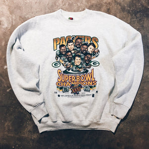 Original 1997 Green Bay Packers Super Bowl Caricature Crewneck Sweatshirt.