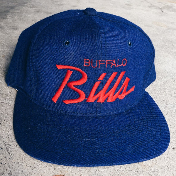 Original 90's Sports Specialties Buffalo Bills Script Snapback Hat.