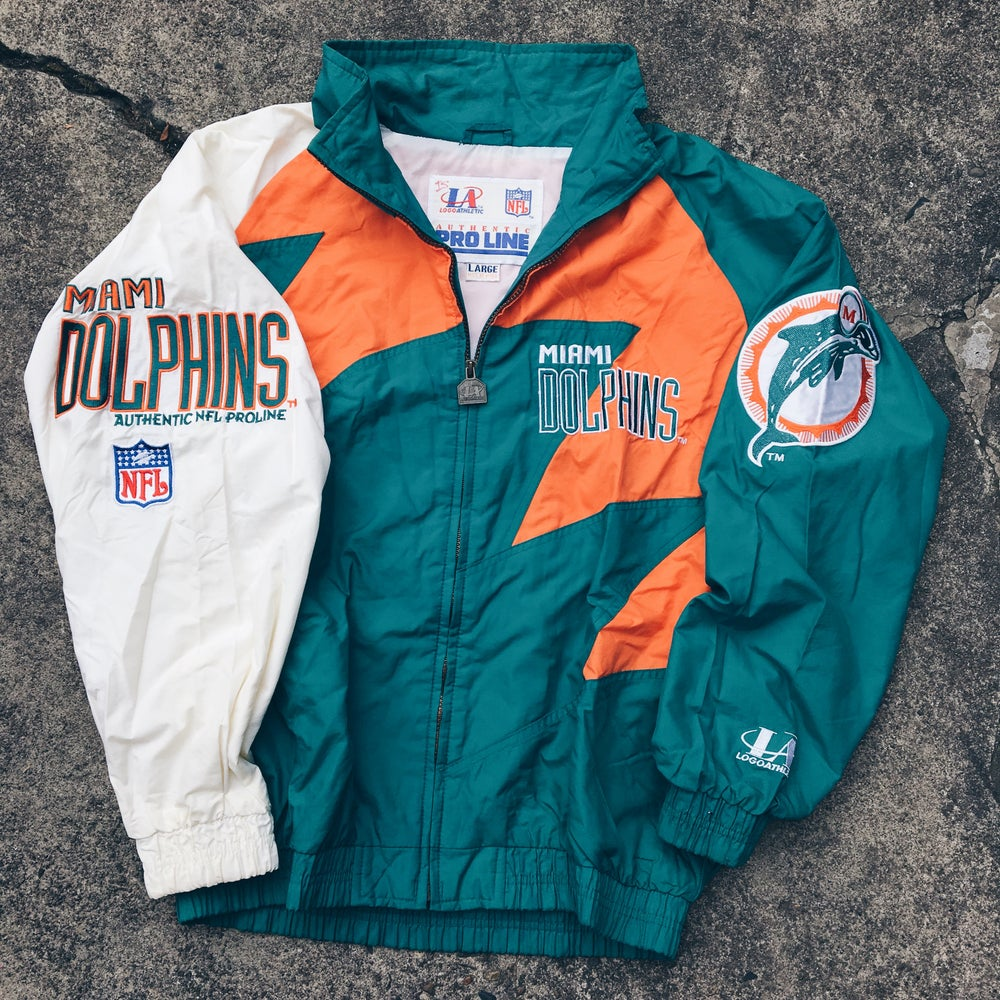 "Original 90's Logo Athletics ""Sharktooth"" Miami Dolphins Jacket."