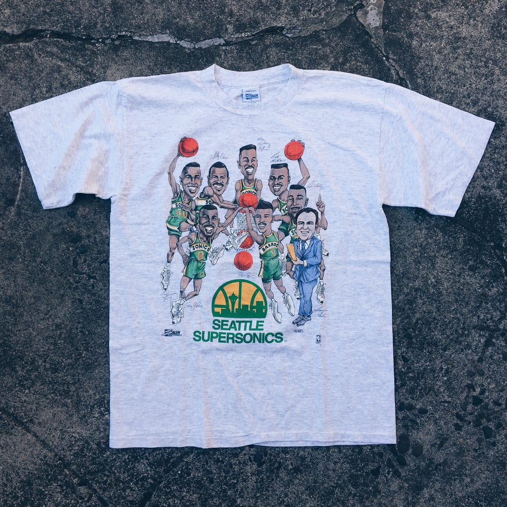 Original Early 90's Salem Sportswear Sonics Caricature Tees.