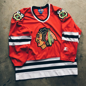 Original 90's Starter Chicago Blackhawks Jersey.