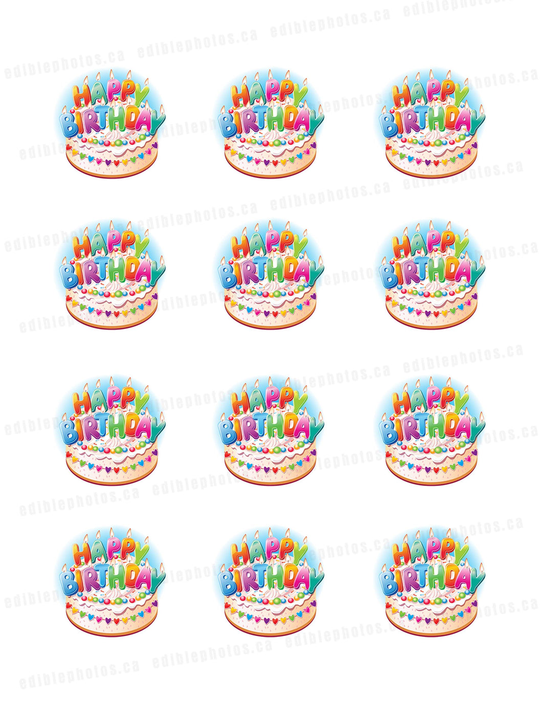 Happy Birthday Cake & Candles Edible Cupcake or Cookie Photos (12)