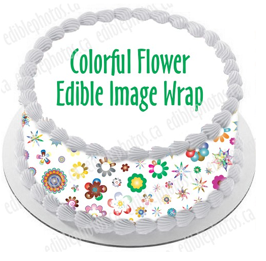 Colorful Flowers Edible Cake Wrap