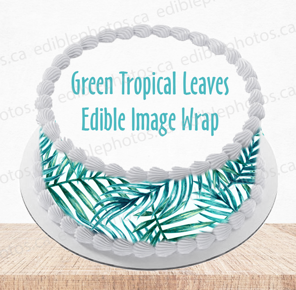 Green Tropical Leaves Edible Image Wrap for Cakes