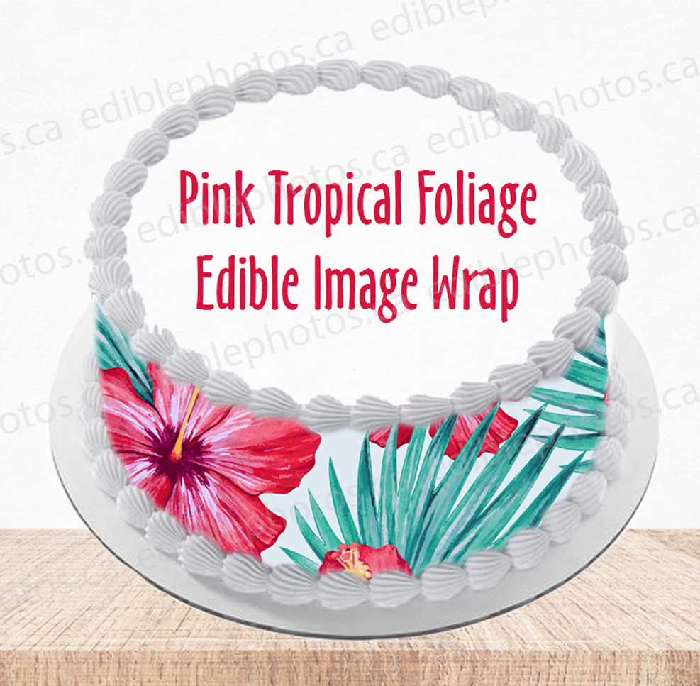 Tropical Foliage Edible Image Wrap for Cakes