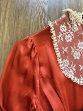 Load image into Gallery viewer, 1970's vintage rust orange satin unlabeled maxi dress