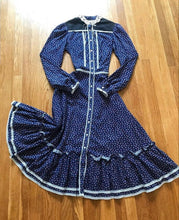 Load image into Gallery viewer, Authentic 1970's vintage navy calico Gunne Sax midi dress