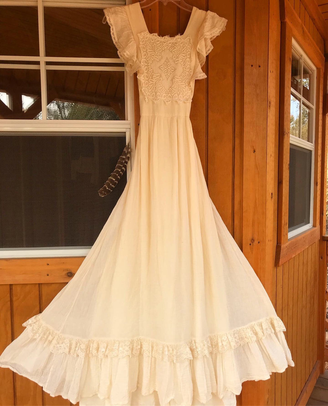 Authentic 1970's vintage ivory crepe and crochet Gunne Sax maxi sundress