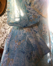 Load image into Gallery viewer, 1970's Vintage blue paisley print voile unlabeled maxi dress