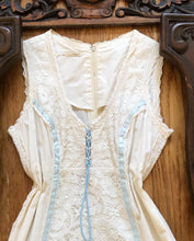 Load image into Gallery viewer, Authentic 1970's vintage ivory poplin and lace Gunne Sax maxi sundress