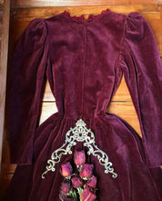 Load image into Gallery viewer, Authentic 1970's vintage burgundy velveteen Gunne Sax midi dress