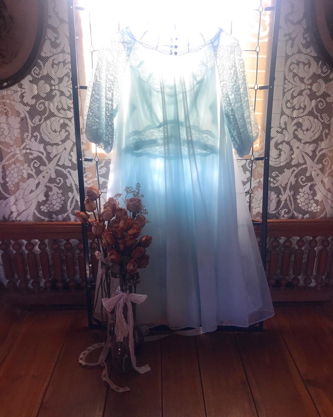 Authentic 1960's pair sky blue Vanity Fair 2 piece peignoir set