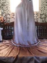 Load image into Gallery viewer, Authentic 1970's Vintage rose gold satin Candi Jones maxi sundress