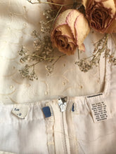 Load image into Gallery viewer, Authentic 1970's vintage ivory eyelet pinafore sundress