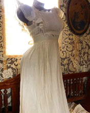 Load image into Gallery viewer, Authentic 1970's vintage ivory crepe pinafore ruffled Gunne Sax maxi sundress