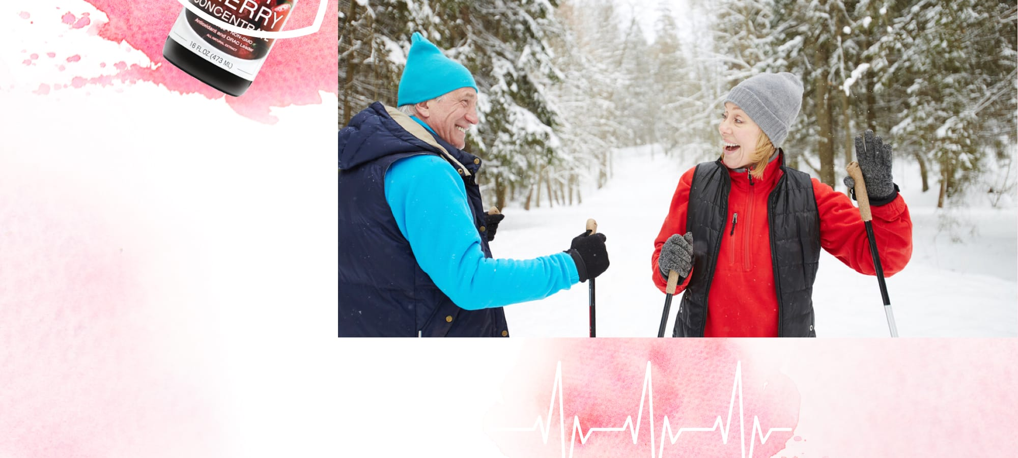 Elderly man and women ski together and enjoy active outdoor activities