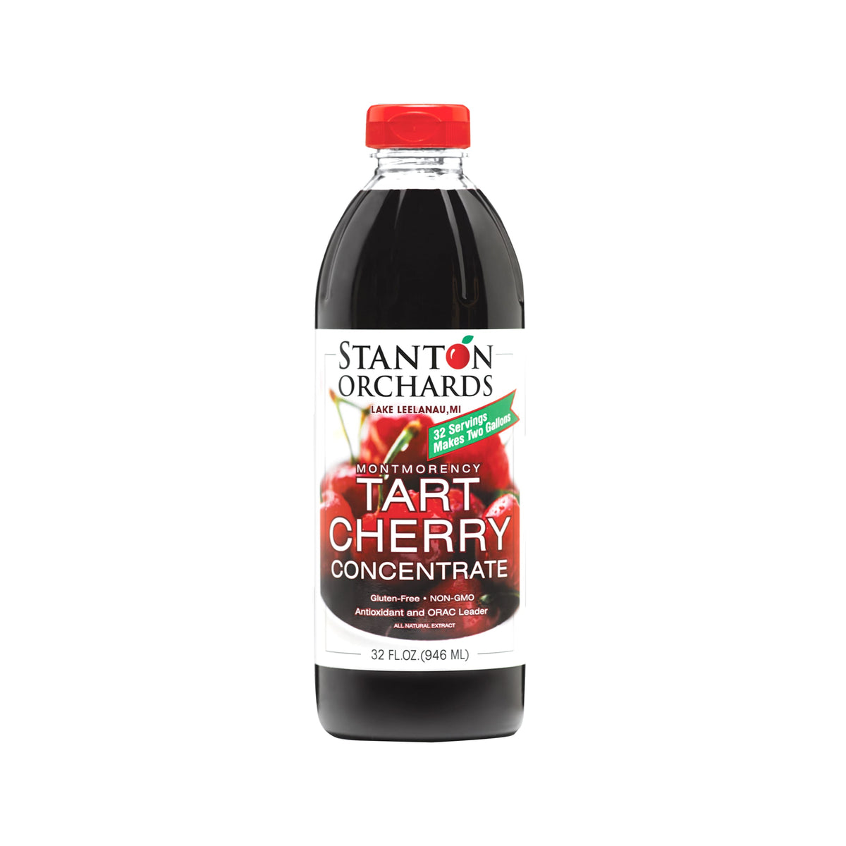 Single 32 oz bottle of Stanton Orchards Montmorency tart cherry concentrate