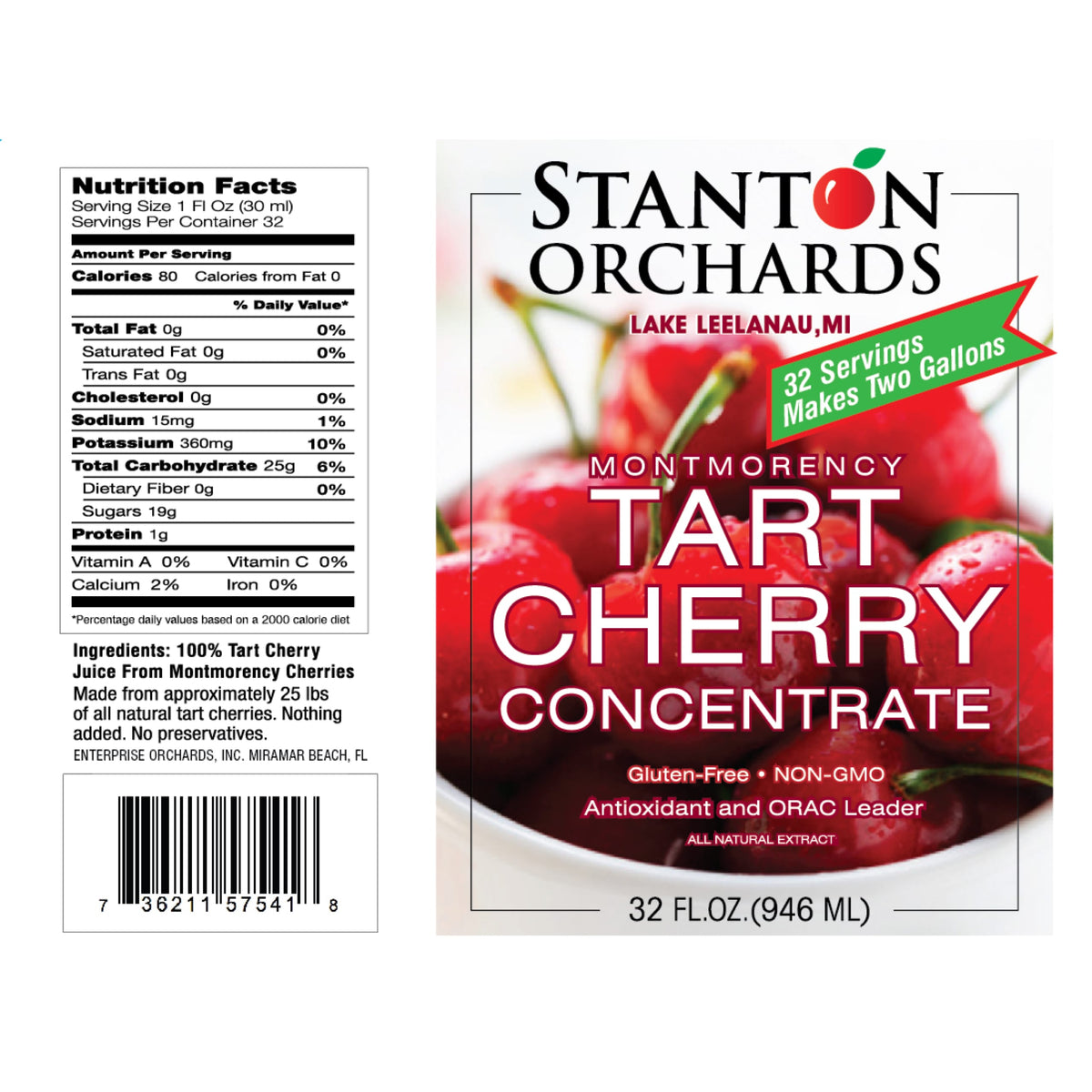 Case of Six (6) 32 oz. Bottles of Tart Cherry Concentrate