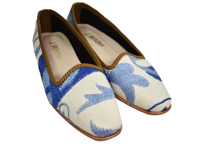 blue and white loafers suzani