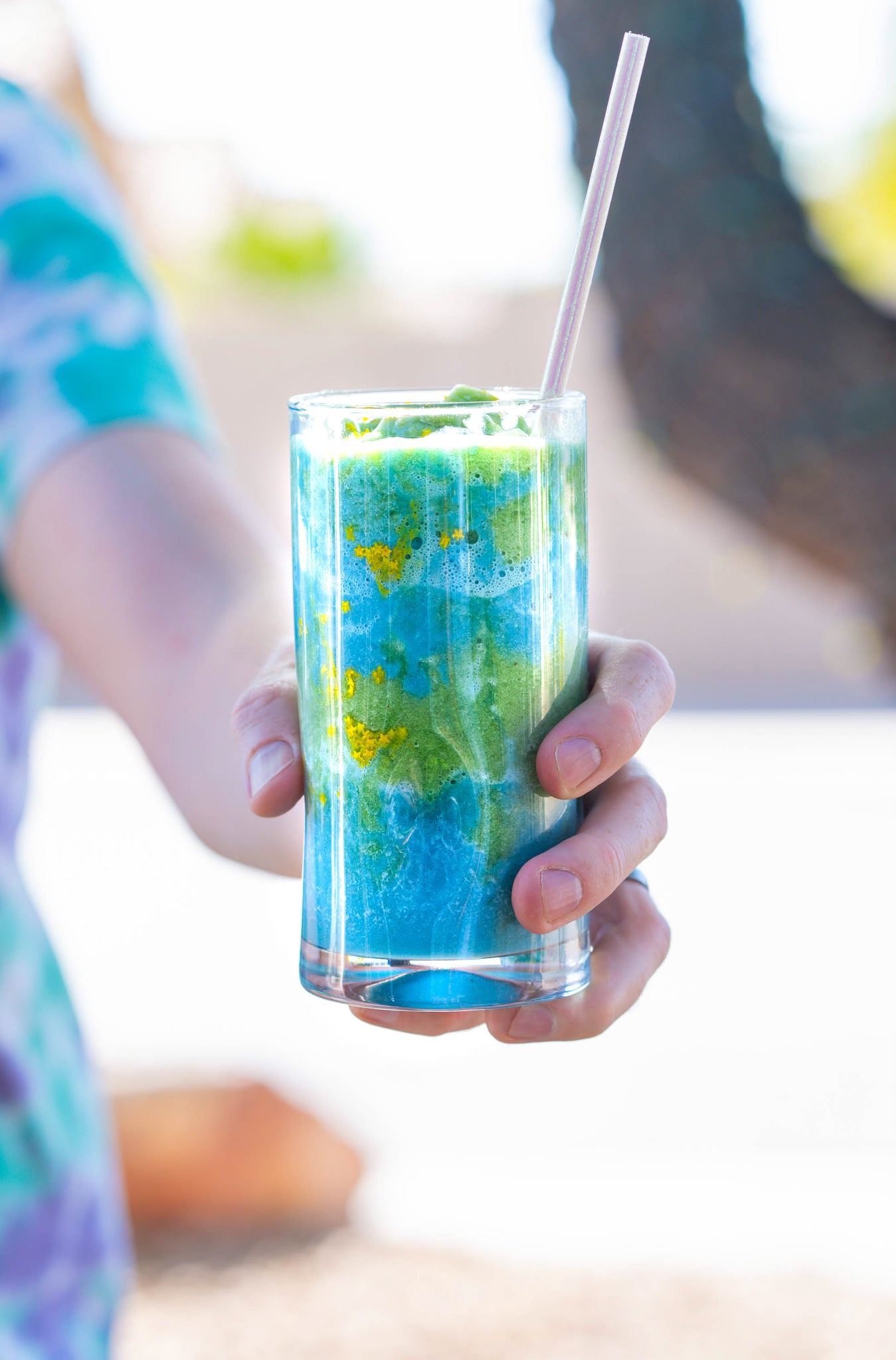 tie dye colorful protein and fiber smoothie