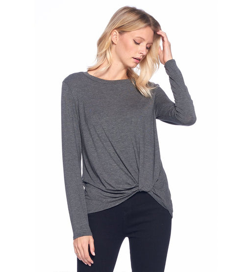 Crew Neck Twist Front Top - TOUGH COOKIE CLOTHINGproduct_vendor#ACTIVE WEAR