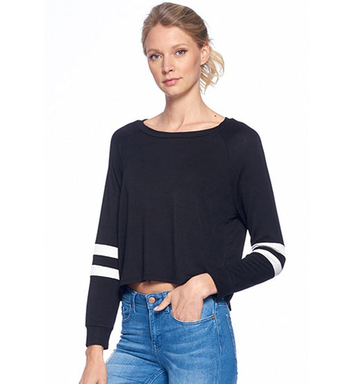 Lined Sleeve Cropped Top - TOUGH COOKIE CLOTHINGproduct_vendor#ACTIVE WEAR