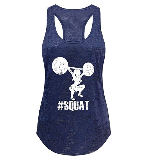 Tough Cookie's Women's Burnout Yoga Tank Top with Squat Hashtag Print - TOUGH COOKIE CLOTHINGproduct_vendor#ACTIVE WEAR
