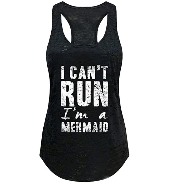 Tough Cookie's Women's I Can't Run, I'm A Mermaid Burnout Yoga Tank Top - TOUGH COOKIE CLOTHINGproduct_vendor#ACTIVE WEAR