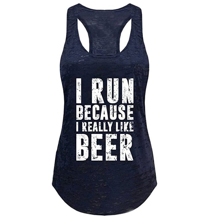 Tough Cookie's Women's I Run Because I Like Beer Burnout Yoga Tank Top - TOUGH COOKIE CLOTHINGproduct_vendor#ACTIVE WEAR