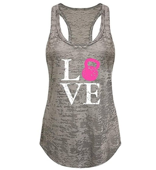 Tough Cookie's Women's Love Kettlebell Print Workout Burnout Yoga Tank Top - TOUGH COOKIE CLOTHINGproduct_vendor#ACTIVE WEAR