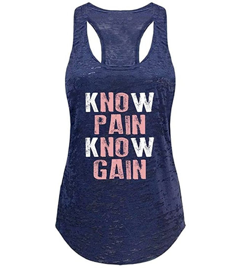 Tough Cookie's Women's No Pain No Gain Print Burnout Yoga Tank Top - TOUGH COOKIE CLOTHINGproduct_vendor#ACTIVE WEAR
