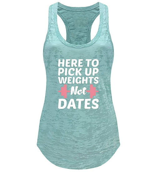 Tough Cookie's Women's Weights Not Dates Print Burnout Tank Top - TOUGH COOKIE CLOTHINGproduct_vendor#ACTIVE WEAR