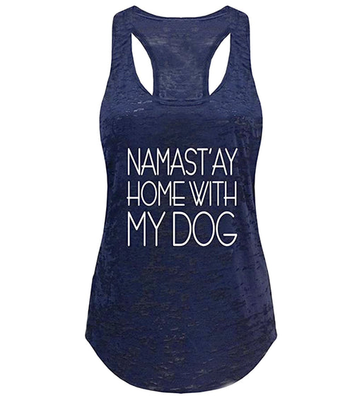Women's Yoga Namastay at Home with My Dog Workout Burnout Yoga Tank Top - TOUGH COOKIE CLOTHINGproduct_vendor#ACTIVE WEAR