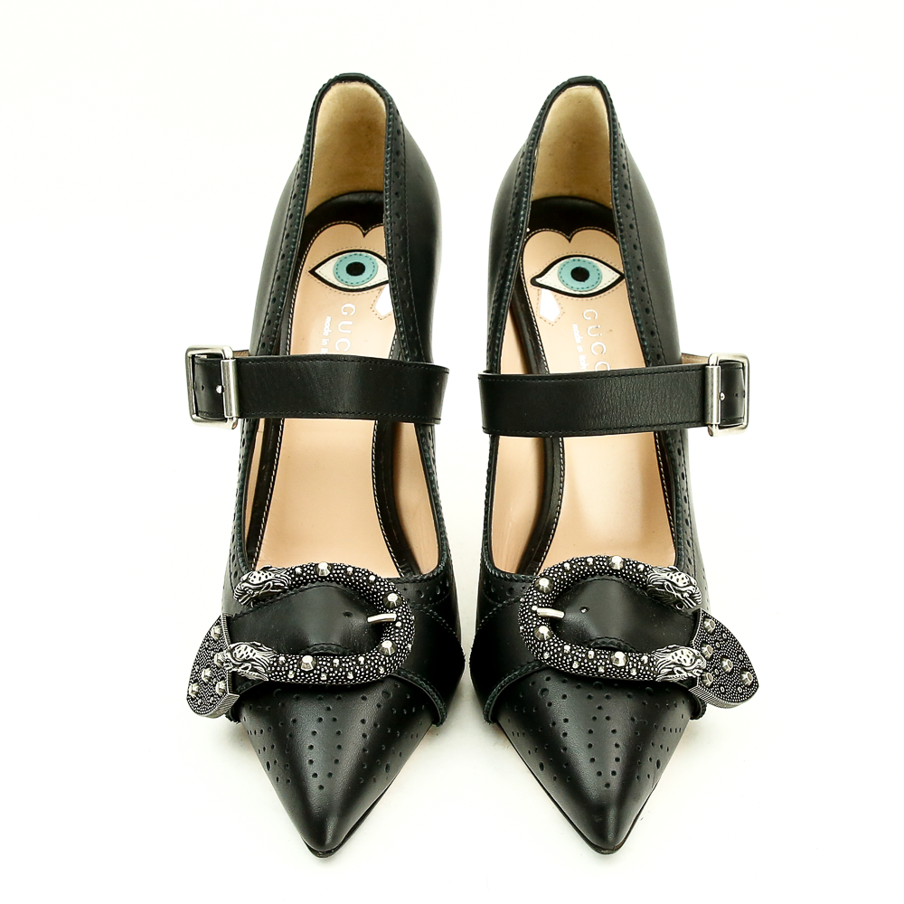 Gucci GUCCI BLACK LEATHER DIONYSUS MARY JANE PUMPS