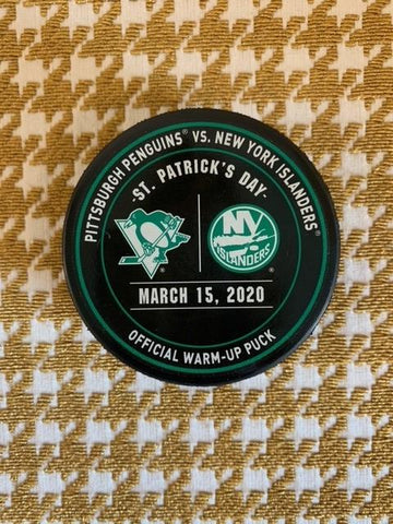 Mar. 15, 2020 vs. NYI (St. Patrick's Day) Unused Warm-Up Puck