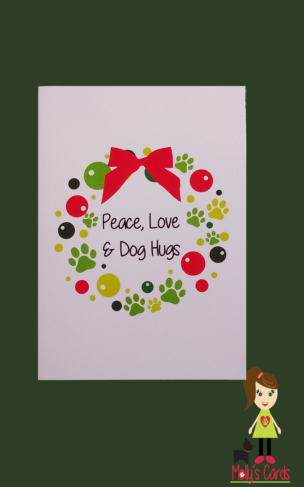 Peace Love and Dog Hugs Christmas card
