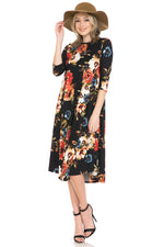 A-Line Swing Trapeze Midi Dress Floral