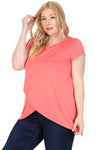 Short Sleeve Tulip Hem Top Plus Size