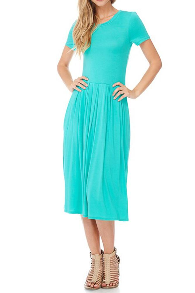 Short Sleeve Pleated Midi Dress with Pockets