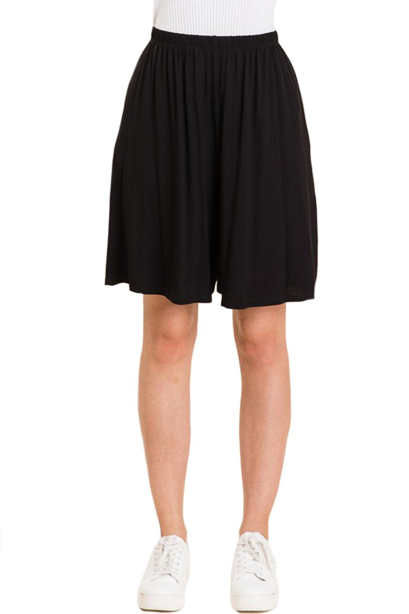 Elastic Waistband Shorts with Pockets Solid