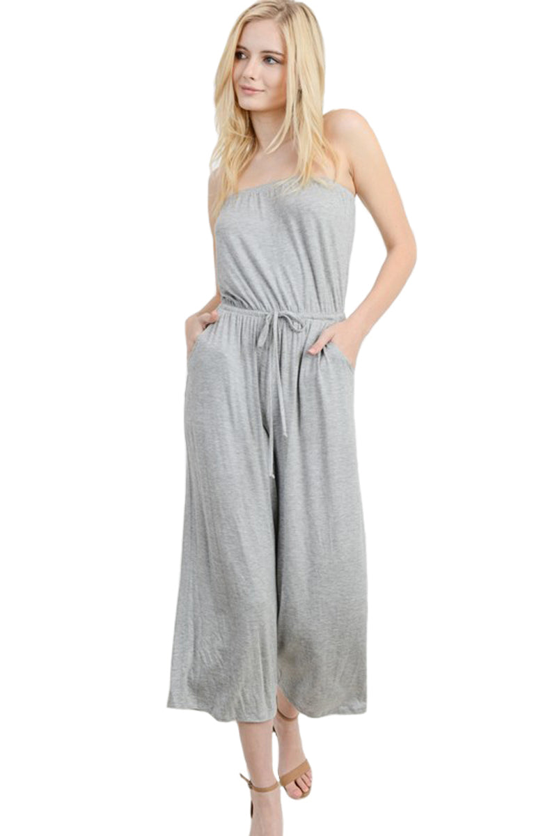 Strapless Tube Culottes Jumpsuit