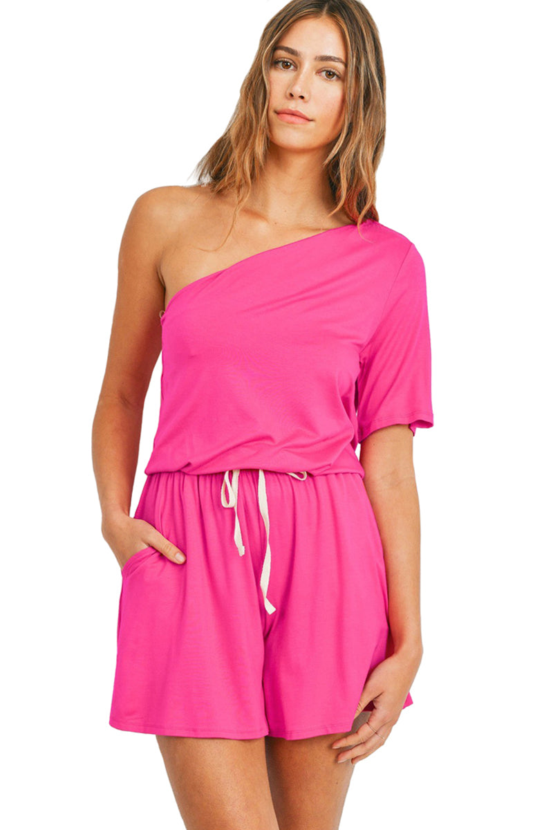One Shoulder Drawstring Romper