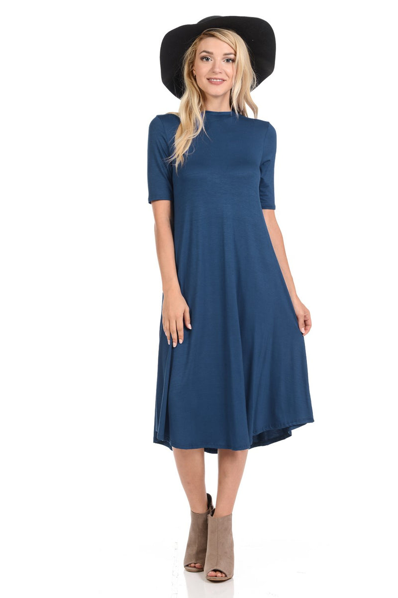 Mock Neck Trapeze Midi Dress